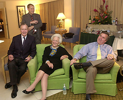 Former first lady Barbara Bush, wife of former President George H.W. Bush and mother of former President George W. Bush, died Tuesday at her home in Houston. She was 92. Barbara Bush had been in failing health, suffering from congestive heart failure and chronic obstructive pulmonary disease. George and Barbara, who celebrated their 73rd wedding anniversary on Jan. 6, hold the record for the longest-married presidential pair. Mrs. Bush was known for her wit and emphasis on family. One of her primary causes was literacy. She founded the Barbara Bush Foundation for Family Literacy in 1989 to carry forth her legacy in the cause for literacy. PICTURED: Nov. 5, 2002 - U.S. - Miami, FloridaL, U.S.- Gov. JEB BUSH watches vote returns with his parents former PRESIDENT GEORGE BUSH and First Lady BARBARA BUSH in Miami, Florida, on Tuesday night, November 5, 2002. (Credit Image: © Orlando Sentinel/TNS/ZUMAPRESS.com)