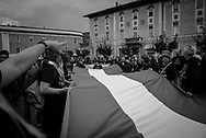 A long Italian flag was delpoied during the march. About 2000 fascists gathered in Predappio, Italy to commemorate the annivrsary of the 'Marcia su Roma' A march held on October 28th 1922 and marked the start of the Italian fascist era .Federico Scoppa