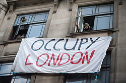 © licensed to London News Pictures. London, UK. 27/01/12. General Views (GV). Protestors occupy new site in the City of London. The 'Bank of Ideas' group, who were facing eviction from a UBS property, have occupied the disused Bank of Iraq building at 7-10 Leadenhall Street EC3. Photo credit: Jules Mattsson/LNP
