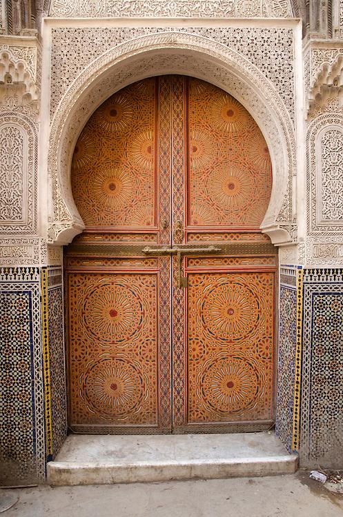 Beautifully decorated door in Fes el Bali, Morocco
