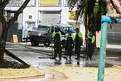 June 22, 2017 - Funcionários da Prefeitura da cidade de São Paulo, fazem limpeza na Praça Princesa Isabel na manhã desta quarta-feira (22), após usuários de drogas deixarem o local por livre e espontânea vontade e irem para a Alameda Cleveland. (Credit Image: © Aloisio Mauricio/Fotoarena via ZUMA Press)