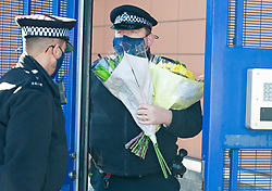 ©Licensed to London News Pictures 26/09/2020  <br /> Croydon, UK. Flowers for Sgt Matt Ratana at Croydon Custody Centre this morning. A murder investigation has been launched by police after the death of  custody police sergeant Matt Ratana at the Croydon Custody Centre in South London yesterday.Photo credit:Grant Falvey/LNP