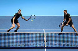 Jamie Murray (left) and Bruno Soares in action during day four of the NITTO ATP World Tour Finals at the O2 Arena, London.