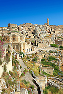 The ancient troglodyte cave dwellings, known as Sassi , in Matera, Southern Italy. A UNESCO World Heritage Site. .<br /> <br /> Visit our ROMAN ART & HISTORIC SITES PHOTO COLLECTIONS for more photos to download or buy as wall art prints https://funkystock.photoshelter.com/gallery-collection/The-Romans-Art-Artefacts-Antiquities-Historic-Sites-Pictures-Images/C0000r2uLJJo9_s0<br /> .<br /> <br /> Visit our MEDIEVAL PHOTO COLLECTIONS for more   photos  to download or buy as prints https://funkystock.photoshelter.com/gallery-collection/Medieval-Middle-Ages-Historic-Places-Arcaeological-Sites-Pictures-Images-of/C0000B5ZA54_WD0s