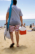 Person walking on the beach with American flag swim pants