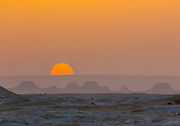 Orange sunset in the White Desert, Egypt