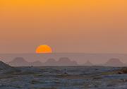 Orange sunset in the White Desert, Egypt