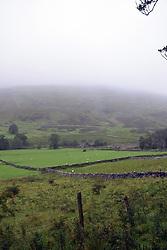 Misty landscape near Hubberholme, Upper Wharfedale, Yorkshire Dales, UK Sep 2020