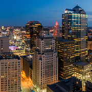 Aerial panoramic photo, Kansas City, Missouri downtown at dusk