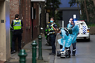 Police and Paramedics misplace an unconscious patient. A member of the public called triple zero when they found a man unconscious in a laneway in the CBD. When help arrived, he had disappeared during COVID-19 in Melbourne, Australia. Hotel quarantine linked to 99% of Victoria's COVID-19 cases, inquiry told. This comes amid a further 222 new cases being discovered along with 17 deaths. Melbourne continues to reel under Stage 4 restrictions with speculation that it will be extended. (Photo by Dave Hewison/Speed Media)