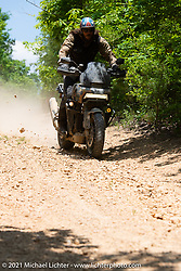 Danger Dan Hardick tests his 1-week old Harley-Davidson Pan-America in the dirt near the Tennessee Motorcycles and Music Revival. Hurricane Mills, TN, USA. May 23, 2021. Photography ©2021 Michael Lichter.