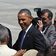 President Barack Obama meets with supporters at the Orlando International Airport on Thursday, March 20, 2014 in Orlando, Fla., enroute to the Valencia Community College West campus to speak about the role of women in the U.S. economy, as well as the challenges they still face. (AP Photo/Alex Menendez)