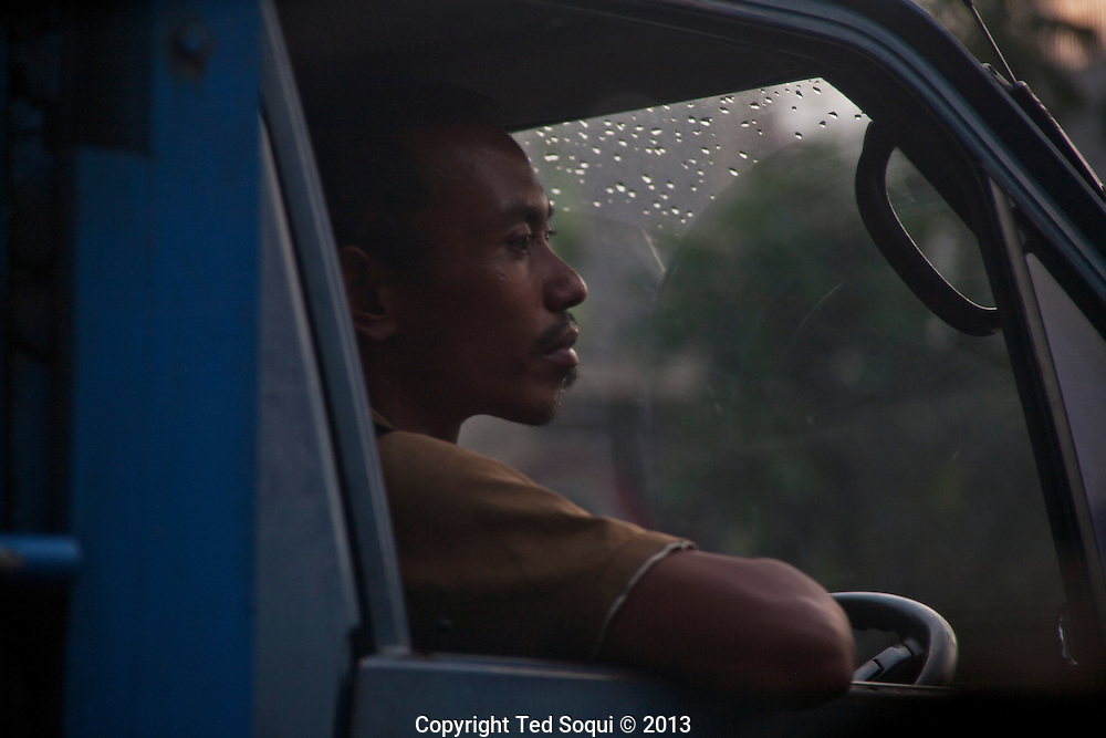 Truck driver in Jakarta.<br /> Various scenes of the city of Jakarta in Indonesia.
