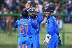 August 27, 2017 - Kandy, Sri Lanka - Indian captain Virat Kohli and MS Dhoni celebrate during the 3rd One Day  (Credit Image: © Tharaka Basnayaka/NurPhoto via ZUMA Press)