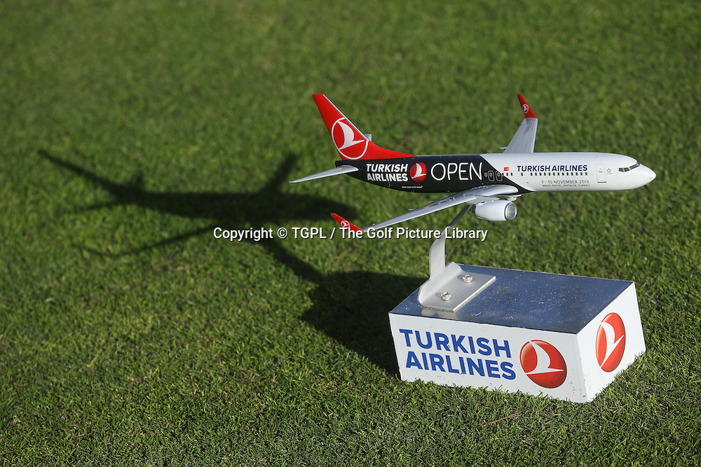 Tee marker in the shape of aeroplane during third round Turkish Airlines Open by Ministry of Culture and Tourism 2013,Montgomerie Course at Maxx Royal,Belek,Antalya,Turkey.