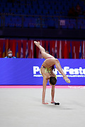 Gaia Garoffolo from the Czech Republic is competing in the Individual Rhythmic Gymnastics World Cup at the Vitrifrigo Arena in May 2021, Pesaro, Italy. She was born in Moncalieri Italy in 2003.