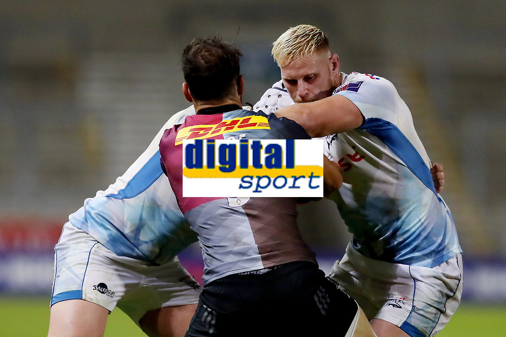 Rugby Union - 2019 / 2020 Premiership Rugby Cup - Final - Sale Sharks vs Harlequins<br /> <br /> Jean-luc de Preez of Sale Sharks is tackled by Danny Care of Harlequins, at the A J Bell Stadium.<br /> <br /> COLORSPORT/PAUL GREENWOOD