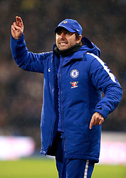 Chelsea's manager Antonio Conte gestures on the pitch during the Premier League match at the John Smith's Stadium, Huddersfield.