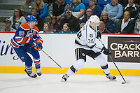 KELOWNA, CANADA - OCTOBER 2: Ryan Nugent-Hopkins #93 of the Edmonton Oilers back checks Paul LaDue #38 of the Los Angeles Kings on October 2, 2016 at Kal Tire Place in Vernon, British Columbia, Canada.  (Photo by Marissa Baecker/Shoot the Breeze)  *** Local Caption *** Paul LaDue; Ryan Nugent-Hopkins;