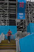 One of the 26 giant seating stand blocks seen before the start of the canoe slalom heats at the Lee Valley White Water Centre, north east London, on day 3 of the London 2012 Olympic Games. The £31 million project was finished on schedule and was the first newly-constructed Olympic venue to be completed.