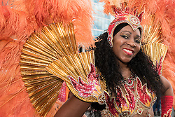 © Licensed to London News Pictures. 07/08/2016. London, UK. Members of the Paraiso Samba school take part in a festival with a Brazilian theme at City Hall to mark the opening of the Olympic Games in Rio de Janeiro. Photo credit : Stephen Chung/LNP
