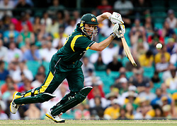 © Licensed to London News Pictures. 17/02/2012. Sydney Cricket Ground, Australia. David Hussey plays a drive shot during the One Day International cricket match between Australia Vs Sri Lanka. Photo credit : Asanka Brendon Ratnayake/LNP