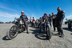 Matt Thenen, Rick Petko and Matt Walksler ready to race at the Race of Gentlemen. Wildwood, NJ, USA. October 10, 2015.  Photography ©2015 Michael Lichter.