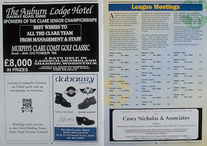 All Ireland Senior Hurling Championship - Final, .03.09.1995, 09.03.1995, 3rd September 1995, .03091995AISHCF, .Senior Clare v Offaly,.Minor Kilkenny v Cork,.Clare 1-13, Offaly 2-8, .The Auburn Lodge Hotel, Galway Road Ennis,.Pat McCarthy Shoes, 53 and 55 O'Connell Street, Ennis,
