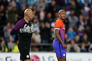 Vincent Kompany of Manchester city looks on at  goalkeeper Willy Caballero after Swansea city score their goal.   EFL Cup. 3rd round match, Swansea city v Manchester city at the Liberty Stadium in Swansea, South Wales on Wednesday 21st September 2016.<br /> pic by  Andrew Orchard, Andrew Orchard sports photography.