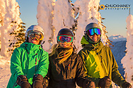 Happy skiers at sunrise at Whitefish Mountain Resort in Whitefish, Montana, USA model released