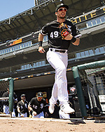 CHICAGO - MAY 14:  Ryan Cordell #49 of the Chicago White Sox takes the field against the Cleveland Indians on May 14, 2019 at Guaranteed Rate Field in Chicago, Illinois.  (Photo by Ron Vesely)  Subject:  Ryan Cordell