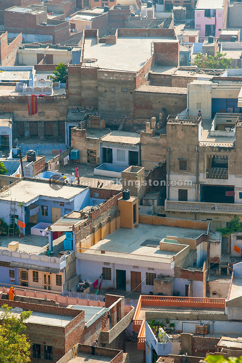 High angle view of rooftops in Jaipur, India.