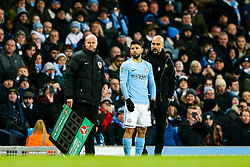 Sergio Aguero of Manchester City is readied to be brought off the bench - Rogan/JMP - 09/01/2018 - Etihad Stadium - Manchester, England - Manchester City v Bristol City - Carabao Cup Semi Final First Leg.