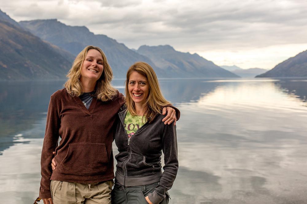 Cindy and Katrina on Lake Wakatipu