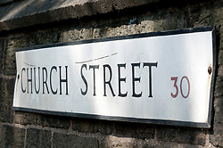 Street name sign, Church Street Ecclesfield Sheffield<br /> Images © Paul David Drabble