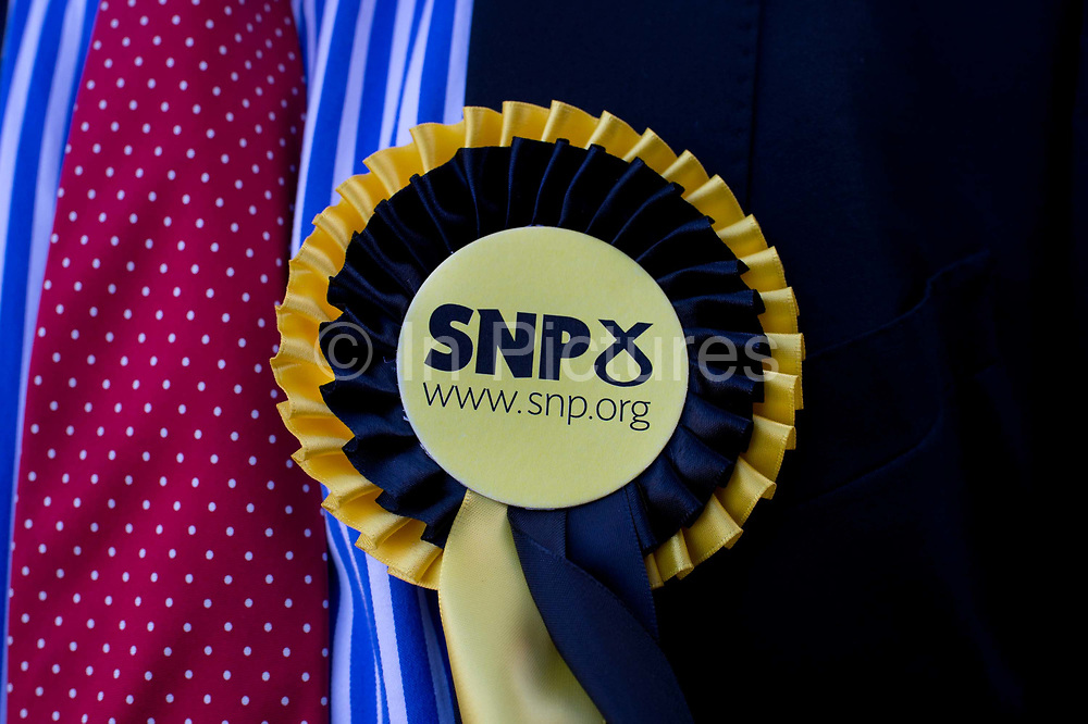 General election 2015. West Kilbride, Scotland. SNP observer at voting centre - rosette detail