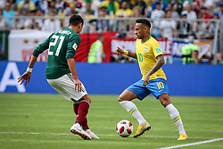 July 2, 2018 - Samara, Vazio, Russia - Sofyan Amrabat of Morocco and Neymar da Silva Santos Jr.  of Brazil during the game between Brazil and Mexico valid for the octaves of finals of the 2018 World Cup, held in Arena Samara, Russia (Credit Image: © Thiago Bernardes/Pacific Press via ZUMA Wire)