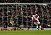 Photo: Olly Greenwood.<br />Arsenal v Blackburn Rovers. The Barclays Premiership. 23/12/2006. Arsenal's Emmanuel Adebayor scores a penalty past Blackburn's Brad Friedel