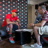 12 July 2013: Chicago Bulls superstar Derrick Rose is interviewed by Theophile Haumesser, editor in chief of french magazine Reverse during Adidas' D Rose tour,  in Paris, France.