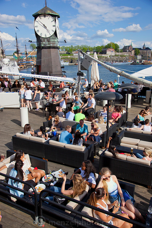 Oslo, Norway. Harborside bar and restaurant, at Aker Brygge