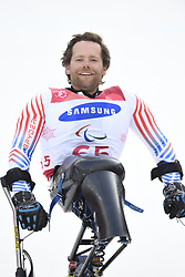 March 14, 2018 - Pyeongchang, South Korea - Tyler Walker celebrates after taking silver in the Giant Slalom competition (sitting) Wednesday, March 14, 2018 at the Jeongson Alpine Center at the Pyeongchang Winter Paralympic Games. Photo by Mark Reis (Credit Image: © Mark Reis via ZUMA Wire)