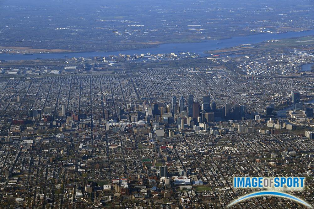 General overall aerial view of the downtown Philadelphia skyline  in Philadelphia on Thursday, April 26, 2018.