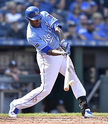 September 13, 2017 - Kansas City, MO, USA - Kansas City Royals' Lorenzo Cain connects on a single to load the bases in the seventh inning during Wednesday's baseball game against the Chicago White Sox on Sept. 13, 2017 at Kauffman Stadium in Kansas City, Mo. (Credit Image: © John Sleezer/TNS via ZUMA Wire)