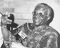 12.09.1985<br /> Bishop Desmond Tutu, Anglican Bishop of Johannesburg, Speaks to the press in Pietermaritzburg after addressing the National initiative for the reconciliation conference.<br /> Picture: Laurie Bloomfield (Independent Newspapers)