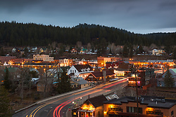 """""""Downtown Truckee 19"""" - Photograph of historic Downtown Truckee at dusk."""