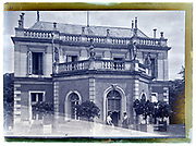 two woman in front of mansion France 1900s vintage glass plate