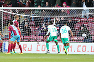 GOAL - Plymouth Argyll midfielder Antoni Sarcevic (7) scores a goal to make it 4-1 to Plymouth during the EFL Sky Bet League 1 match between Scunthorpe United and Plymouth Argyle at Glanford Park, Scunthorpe, England on 27 October 2018. Pic Mick Atkins