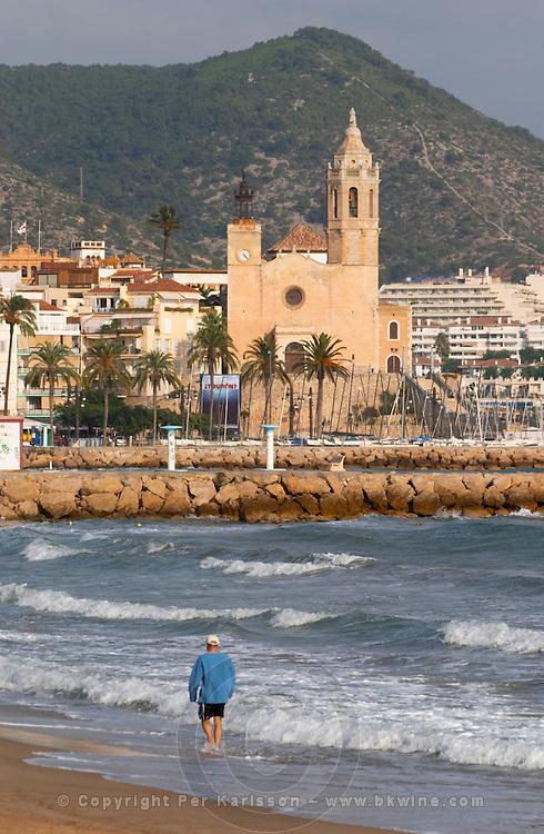 San Barthomieu i Santa Tecla church. Beach. Sitges, Catalonia, Spain