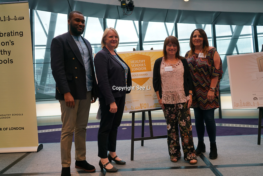 """City Hall, London, Uk, 29th June 2017. Beaconsfield Primary School, Petts Hill Primary School, Berrymede Infant  """"Gold Awards"""" of the City Hall awards at the Health and education experts celebrate London's healthiest schools."""