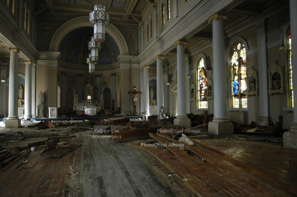 St. Stanislaus church in Bat=y St. Louis afterHurricane Katrina blew through town Thursday Sept. 1,2005.Katrina is the worst storm to ever hit American soil in history.(Photo/SuziAltman)
